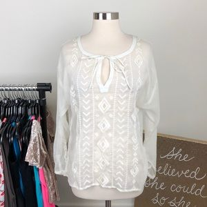 Old Navy white tribal top